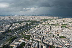 View from the Eiffel Tower to Paris and the river Seine  in a th Royalty Free Stock Photos