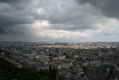View from the Eiffel Tower to Paris in a thunder-storm Stock Photos