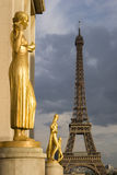 View of the Eiffel tower from Trocadero in Paris,. View of the Eiffel tower from the Statues at the Trocadero in Paris, France Royalty Free Stock Photography