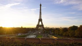 Eiffel tour and from Trocadero, Paris. View of Eiffel Tower from Trocadero at sunrise, Paris, France stock video