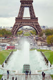 View on the Eiffel Tower and working fountains of Trocadero. Royalty Free Stock Images
