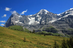 View at Eiger north face, Mönch and glaciers in Switzerland. View at the famous Eiger north face, the Mönch and glaciers. Mountain landscape in Switzerland royalty free stock photo