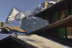 View of Eiger north wall ( Die Eiger-Nordwand) from Mürren Stock Photos