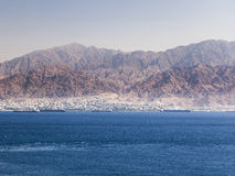 View from Eilat towards Aqaba in Jordan. Israel. Stock Images