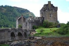 View of Eilean Donan Castle in Dornie, Scotland and the Bridge stock image