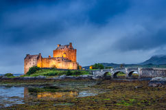 View of Eilean Donan castle at sunset in Scottish highlands Stock Photography