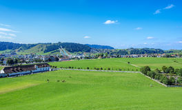 View on Einsiedeln in Switzerland. Einsiedeln, Switzerland - 8 September, 2015: view on the town with the ski jumping venue in the background. The ski jumping Royalty Free Stock Image