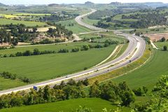View of the ,Eix Transversal de Catalunya ,motorway from Montfalco Murallat,. LLeida province, Catalonia, Spain royalty free stock photo