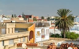 View of El Jem city from the Roman amphitheater, Tunisia. Royalty Free Stock Images