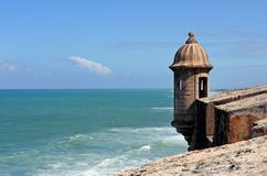 View from El Morro. View of a garita and Caribbean Sea from the El Morro fort in San Juan, Puerto Rico stock photography