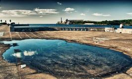 View of `El Morro` fortress in Havana bay entrance Royalty Free Stock Photos