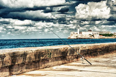View of `El Morro` fortress in Havana bay entrance Royalty Free Stock Image