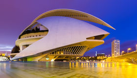 View of El Palau de les Arts Reina Sofia in evening time royalty free stock photos