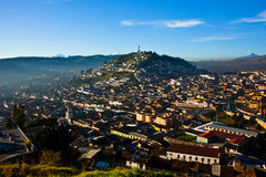 View of El Panecillo. In the center of Quito with the Cotopaxi in the background Stock Image