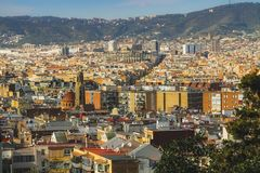 View from El Poble-sec in Barcelona. Spain royalty free stock photos