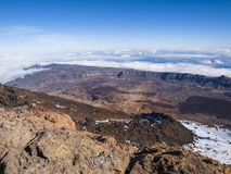 View from El Teide (Tenerife). Volcanic landscape - mountain range - desert - blue sky - clouds - no people Stock Photos