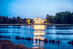 View of the Elagin Palace from Stone Island. Royalty Free Stock Photos