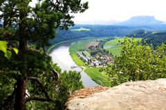 View on Elbe from Bastai, Rathen Stock Images