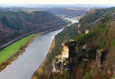 View of the Elbe river and the Wartturm rocks Stock Images