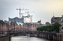 View of the Elbphilharmonie in Hamburg. View of the Elbphilharmonie building behind the Speicherstadt City of Warehouses in HafenCity quarter of Hamburg Stock Images