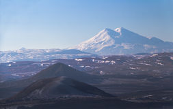 View of Elbrus from the hillside of Mashuk. View of Mount Elbrus from the hillside of Mashuk. Pyatigorsk, Russia, Caucasus royalty free stock images