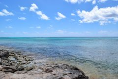 Electric blue ocean from the coast of Grand Turk stock images