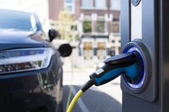 View from an Electric Car Charging Column. And in the background royalty free stock image