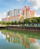 View of the elegant condominiums and HDB in Singapore. SINGAPORE - JUNE 25, 2016 : view of the elegant condominiums and HDB  on the Thomson road in Singapore Stock Photography