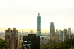 View of elephant mountain the tallest building of the world Taip. Ei 101 Stock Photography
