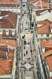 View from the Elevador de Santa Justa  to the old part of Lisbon Stock Image
