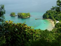 A view from elevatep point over beach in Parque Nacional de Isla Coiba, Panama Stock Image