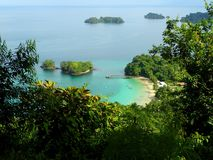 A view from elevatep point over beach in Parque Nacional de Isla Coiba, Panama.  royalty free stock photography