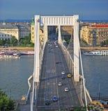 View of Elisabeth bridge in Budapest city Stock Photos