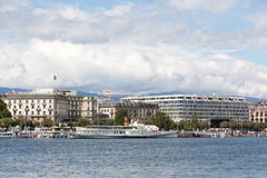 View of elite hotel and Lake Geneva Embankment Royalty Free Stock Photography