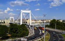 View of Elizabeth bridge in Budapest, Hungary. View of Elizabeth bridge in Budapest stock photos