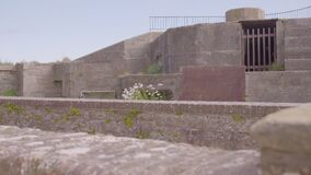 View of a Elizabeth Castle`s stone wall
