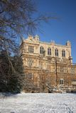 A view of the Elizabethan Wollaton Hall museum and gardens in the snow in winter in Nottingham, Nottinghamshire taken 3rd December stock images