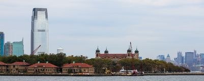 Ellis Island. View of the Ellis Island and the buildings on the grounds Stock Photo