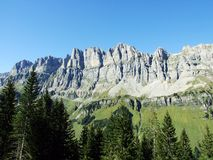 A view of the elongated peak Jegerstock in the Swiss Alps. Canton of Uri, Switzerlan royalty free stock images