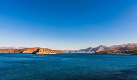 View of Elounda Bay and Spinalonga Island, Crete Stock Photos