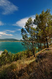 View on Embalse de Yesa. A view on the lake Embalse de Yesa in Spain. This picture was taken from the ghost town Tiermas Stock Image
