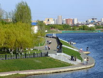A view on embankment in Astana Stock Image
