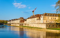 View of embankment in Besancon Royalty Free Stock Image