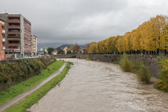 View at embankment of Bisenzio River. Prato. Tuscany. Italy. royalty free stock images
