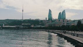 View of the embankment of the Caspian Sea of the capital of Azerbaijan, Baku and the skyscrapers of the city stock footage