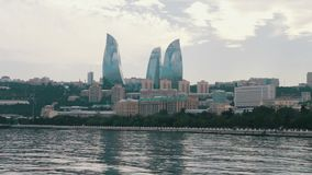 View of the embankment of the Caspian Sea of the capital of Azerbaijan, Baku and the skyscrapers of the city stock video footage