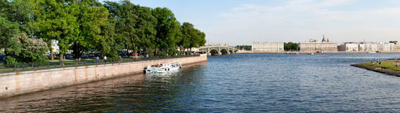 View of the embankment the city Sankt-Peterburg in summer day Royalty Free Stock Images