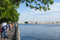 View of the embankment the city Sankt-Peterburg in summer day Stock Image
