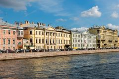 View of the Embankment of the Fontanka River. Near Saint Michael`s Castle Mikhailovsky Castle or Engineers` Castle Royalty Free Stock Images