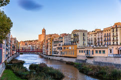 View of the embankment in Girona - Spain Royalty Free Stock Photos
